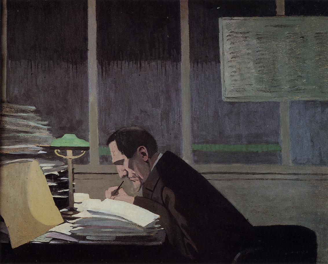 Felix Feneon at the Revue Blanche 1896 | Felix Vallotton | oil painting