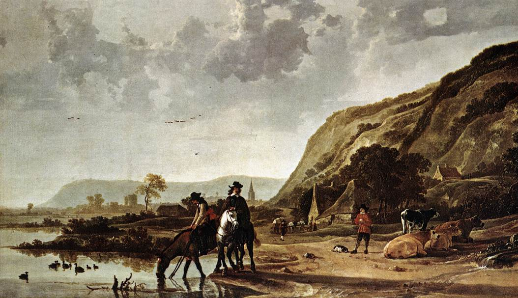 Large River Landscape with Horsemen | Aelbert Cuyp | oil painting