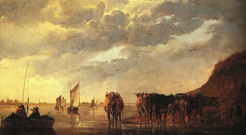 Herdsman with Cows by a River 1650 | Aelbert Cuyp | oil painting