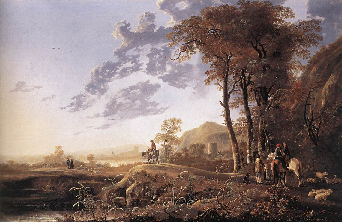 Evening Landscape with Horsemen and Shepherds 1655 1660 | Aelbert Cuyp | oil painting