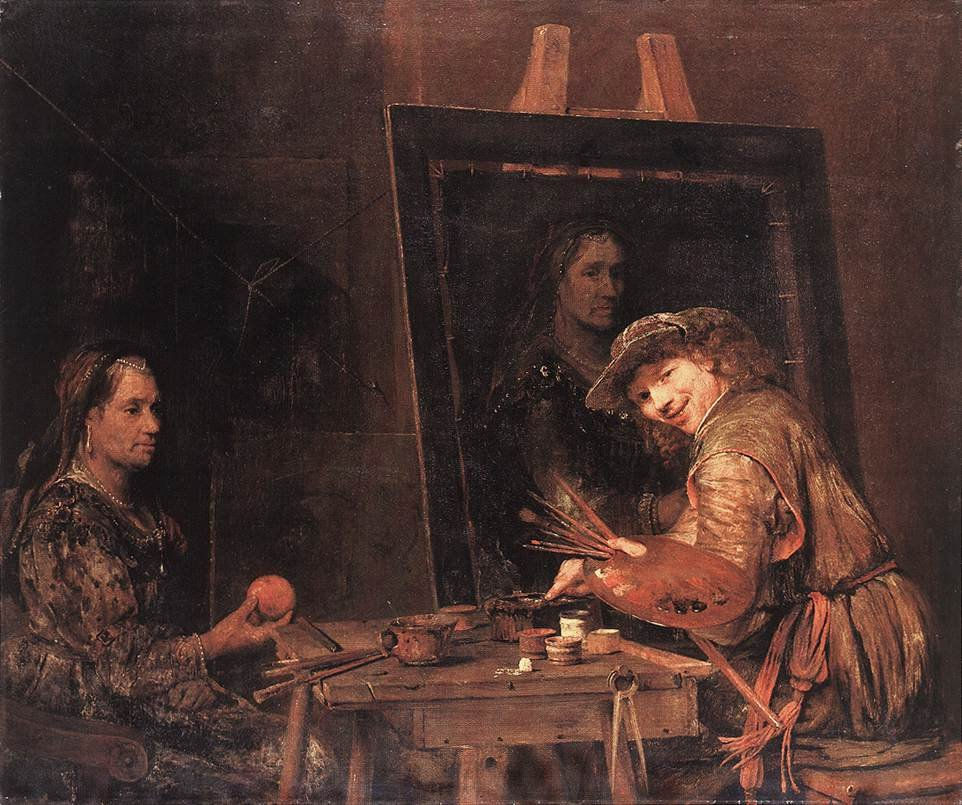 Self Portrait at an Easel Painting an Old Woman 1685 | Aert de Gelder | oil painting