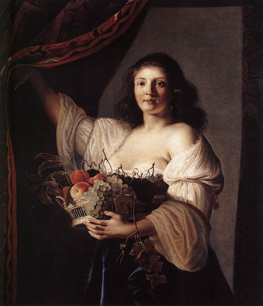Woman with a Basket of Fruit 1642 | Christiaen van Couwenbergh | oil painting