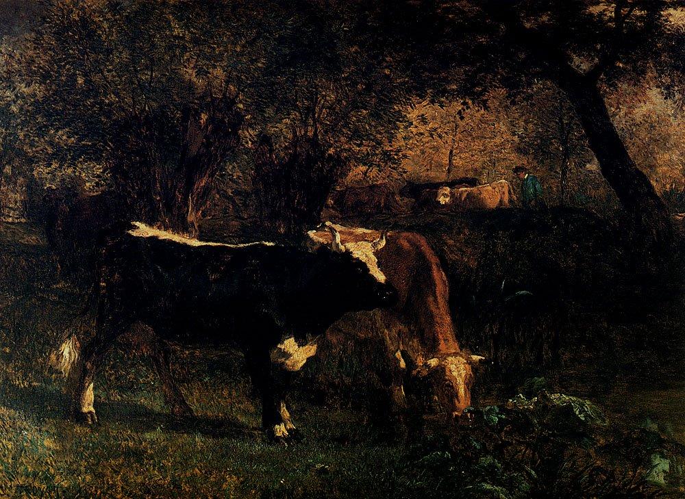Vaches A L'Abreuvoir 1855 | Constant Troyon | oil painting