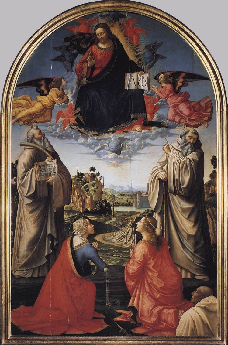 Christ in Heaven with Four Saints and a Donor 1492 | Domenico Ghirlandaio | oil painting
