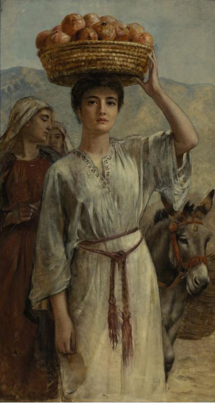Woman Carrying a Basket Full of Pomegranates | Edwin Longsden Long | oil painting