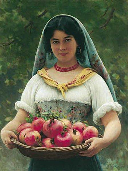 Madchen mit Granatapfeln | Eugene de Blaas | oil painting