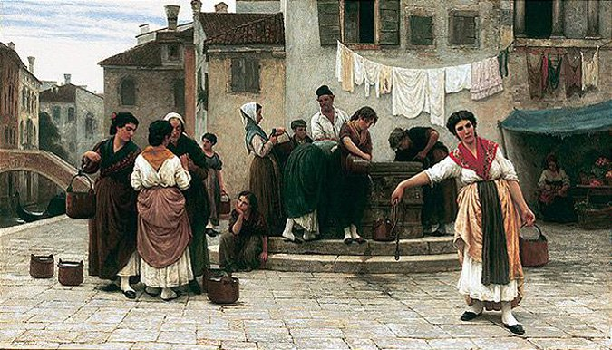 Am Brunnen At the Well 1872 | Eugene de Blaas | oil painting