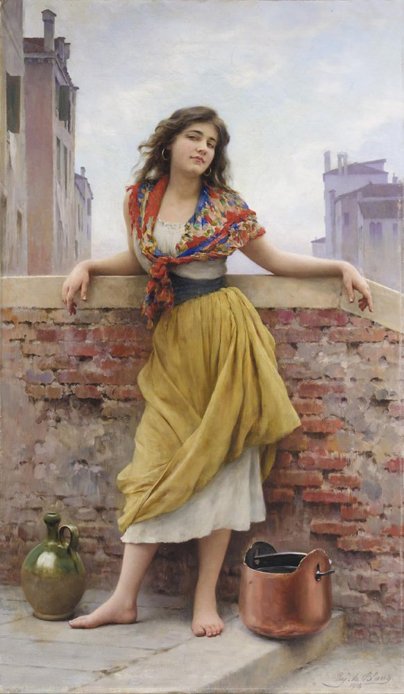 Die Wassertr_gerin The Watercarrier 1908 | Eugene de Blaas | oil painting