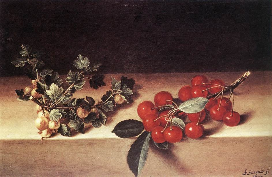 Cherries and Gooseberries on a Table 1644 | Francis Garnier | oil painting