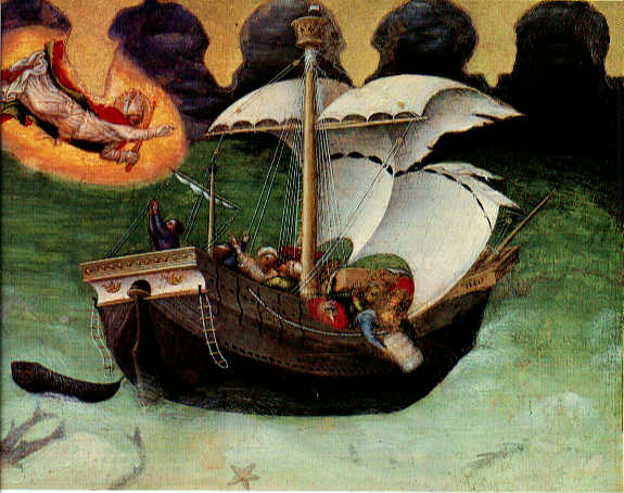 Quaratesi Altarpiece St Nicholas saves a storm tossed ship 1425 | Gentile da Fabriano | oil painting