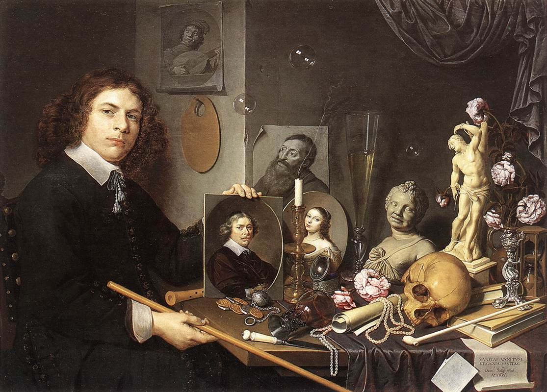 Self portrait With Vanitas Symbols | Giovanni Baglione | oil painting