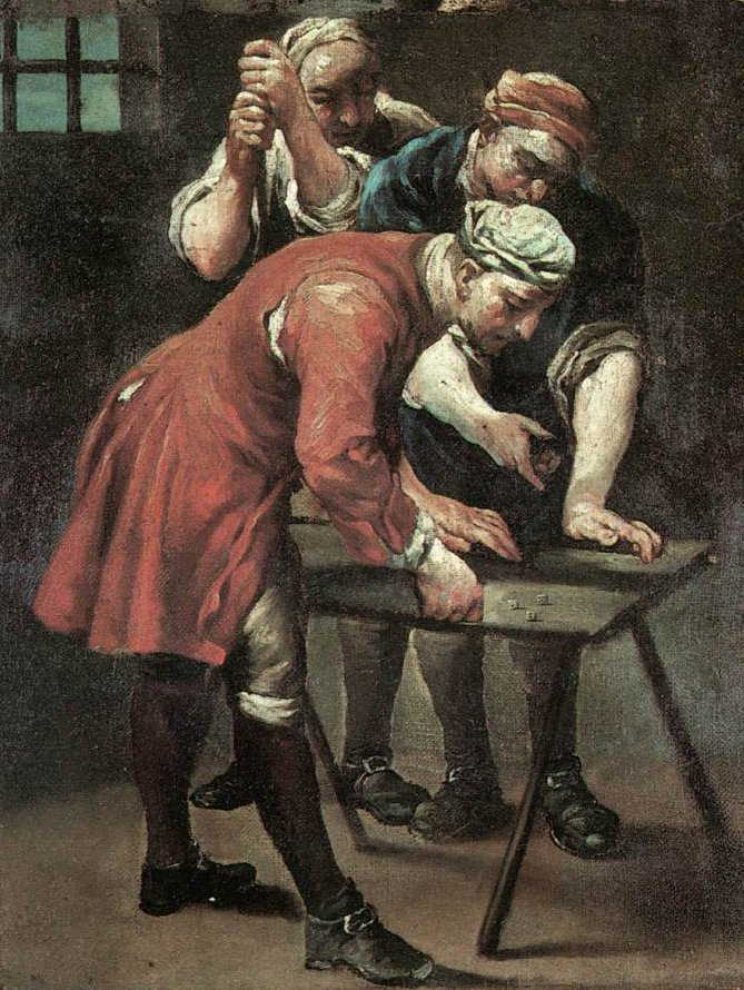 Dice Players 1740 | Giuseppe Maria Crespi | oil painting