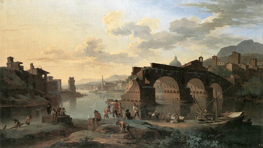 River View with the Ponte Rotto 1696 | Jacob de Heusch | oil painting