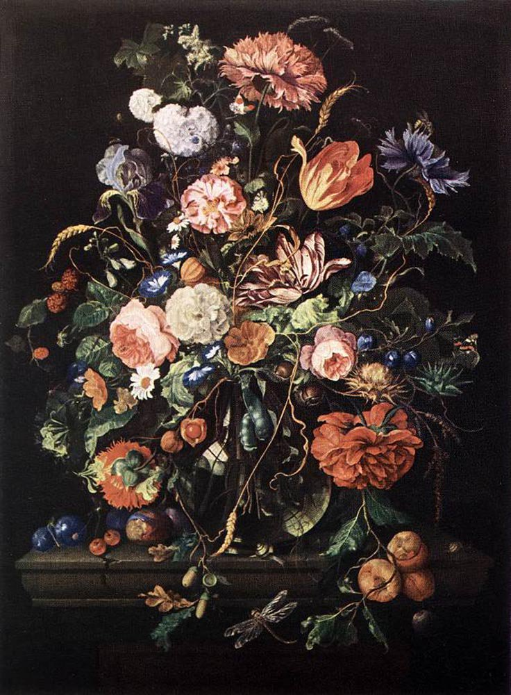 Flowers in Glass and Fruits | Jan Davidsz de Heem | oil painting