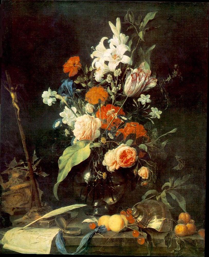 Flower Still life with Crucifix and Skull 1630 | Jan Davidsz de Heem | oil painting