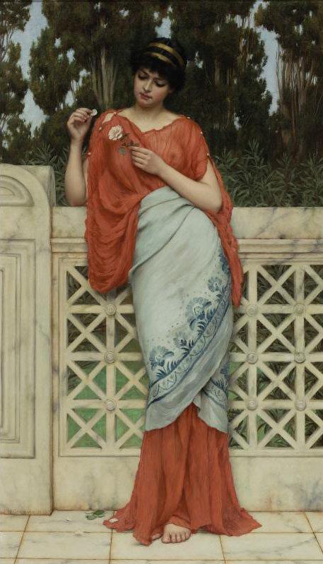 He Loves Me He Loves Me Not 1896   John William Godward   oil painting