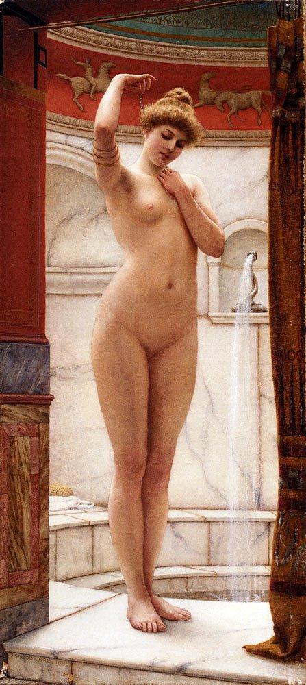 A Pompeian Bath 1890   John William Godward   oil painting