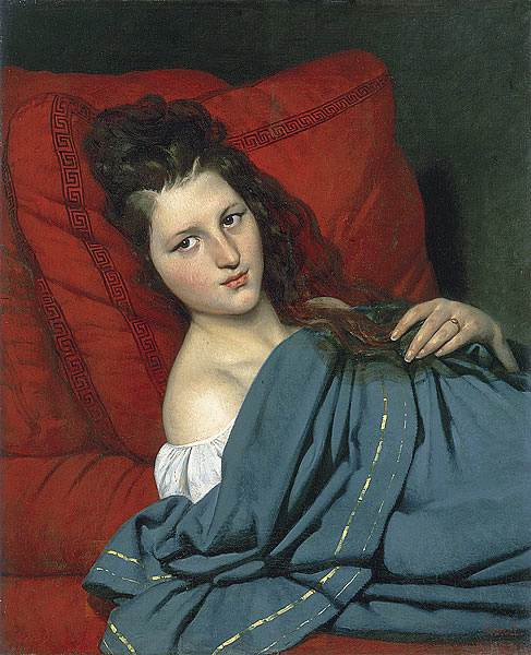 Half length Woman Lying on a Couch 1829 | Joseph Desire Court | oil painting