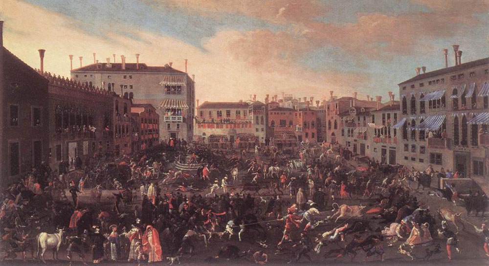 The Bull Hunt in Campo San Polo 1646 | Joseph Heintz the Younger | oil painting