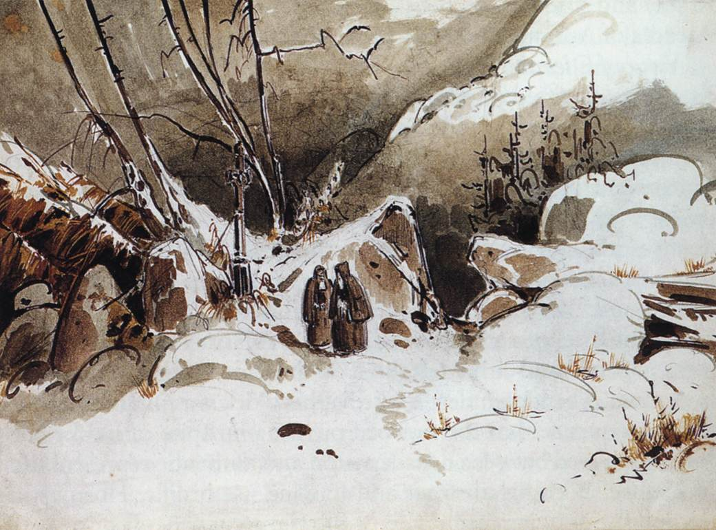 Alpine Pass in Winter with Monks 1833   Karl Blechen   oil painting