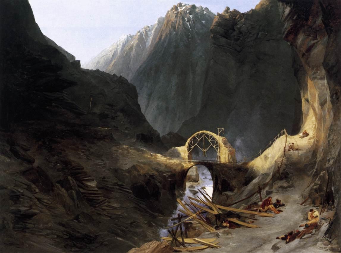 Building the Devil's Bridge 1833 | Karl Blechen | oil painting