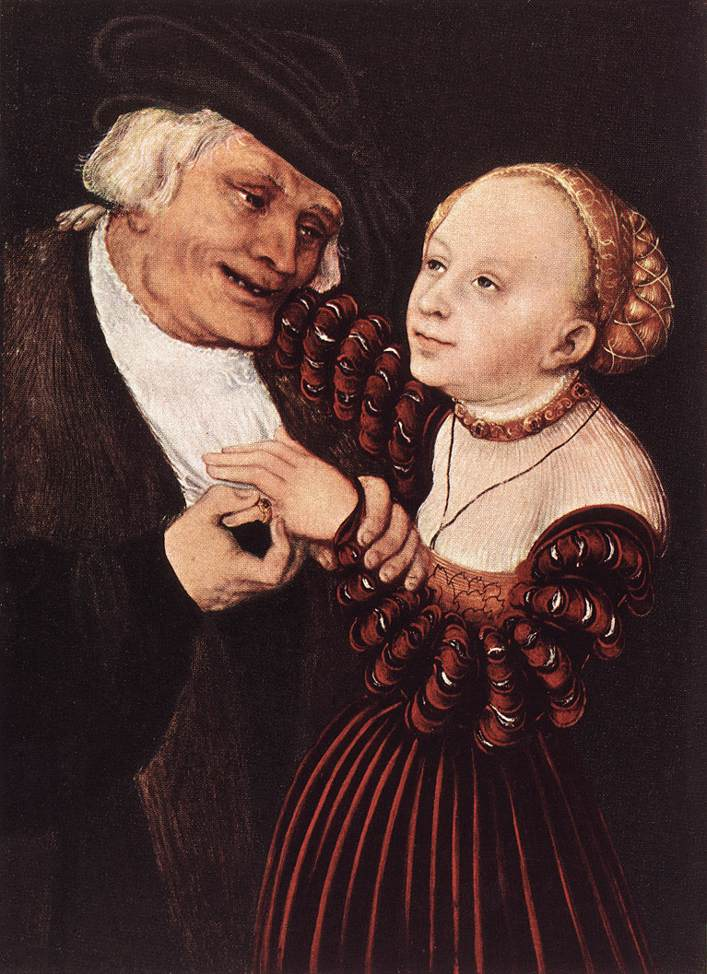Old Man and Young Woman | Lucas Cranach the Elder | oil painting