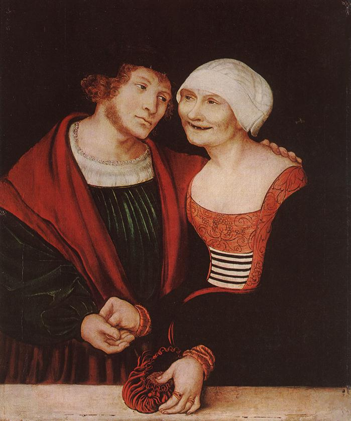 Amorous Old Woman and Young Man 1520 1522 | Lucas Cranach the Elder | oil painting