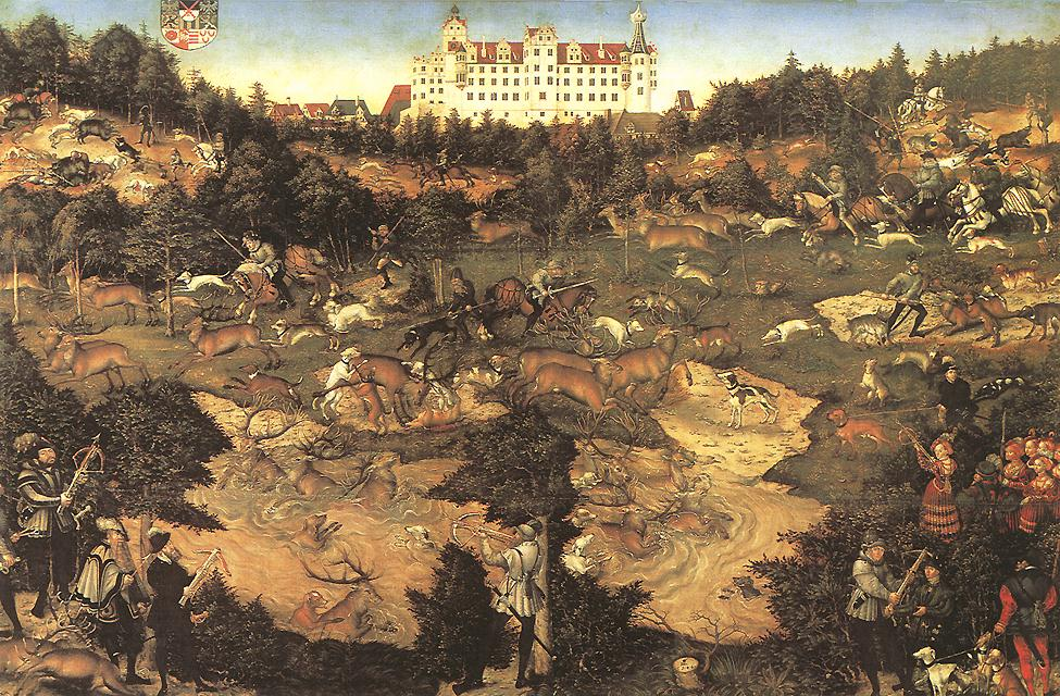 Hunt in Honour of Charles V at the Castle of Torgau 1544 | Lucas Cranach the Elder | oil painting
