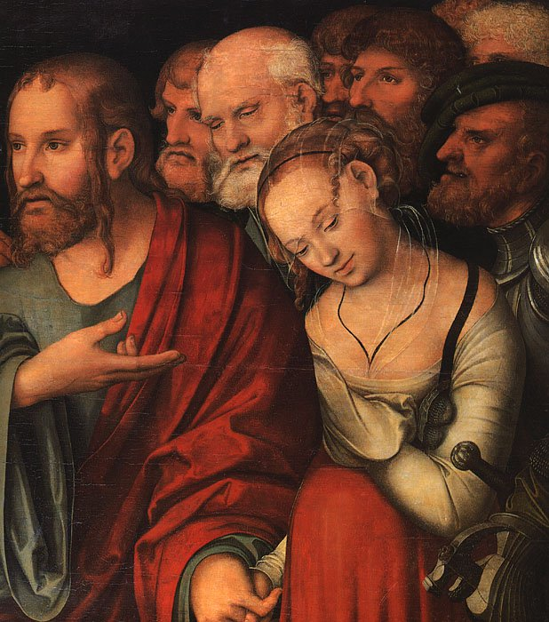 Christ and the Fallen Woman   Lucas Cranach the Younger   oil painting
