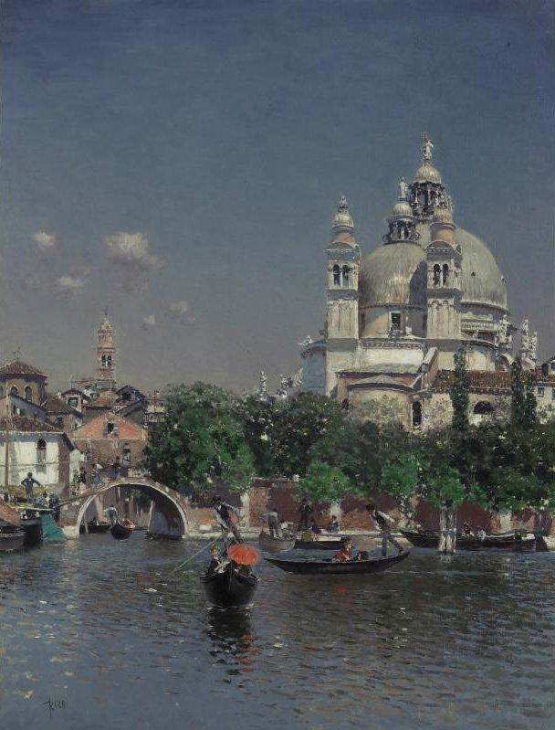 Venetian Lagoon Near the Church of Santa Maria della Salute | Martin Rico y Ortega | oil painting