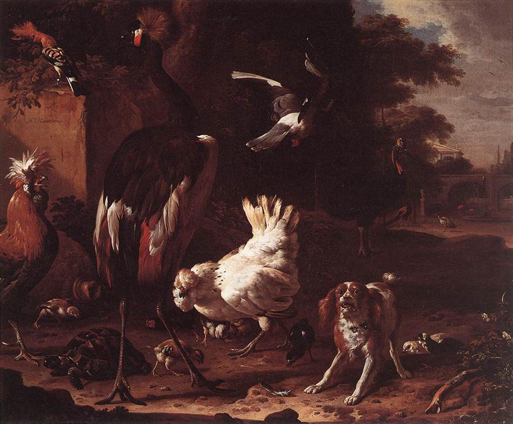 Birds and a Spaniel in a Garden | Melchior d' Hondecoeter | oil painting