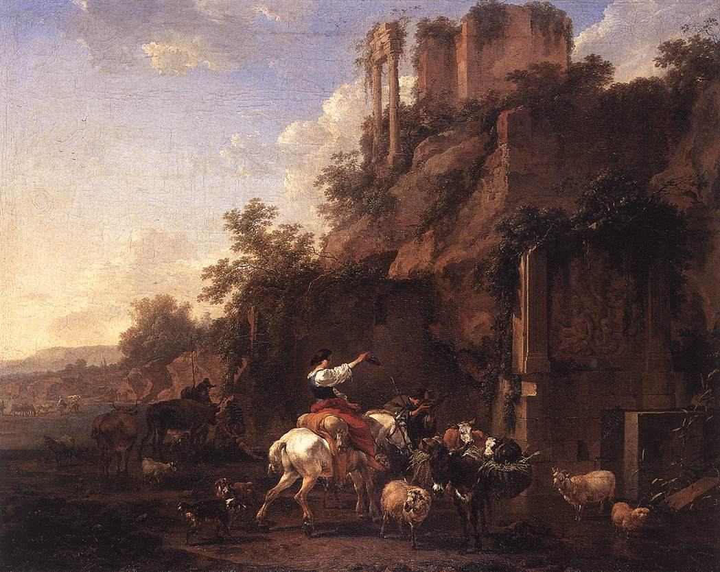 Rocky Landscape with Antique Ruins 1657 | Nicolaes Berchem | oil painting