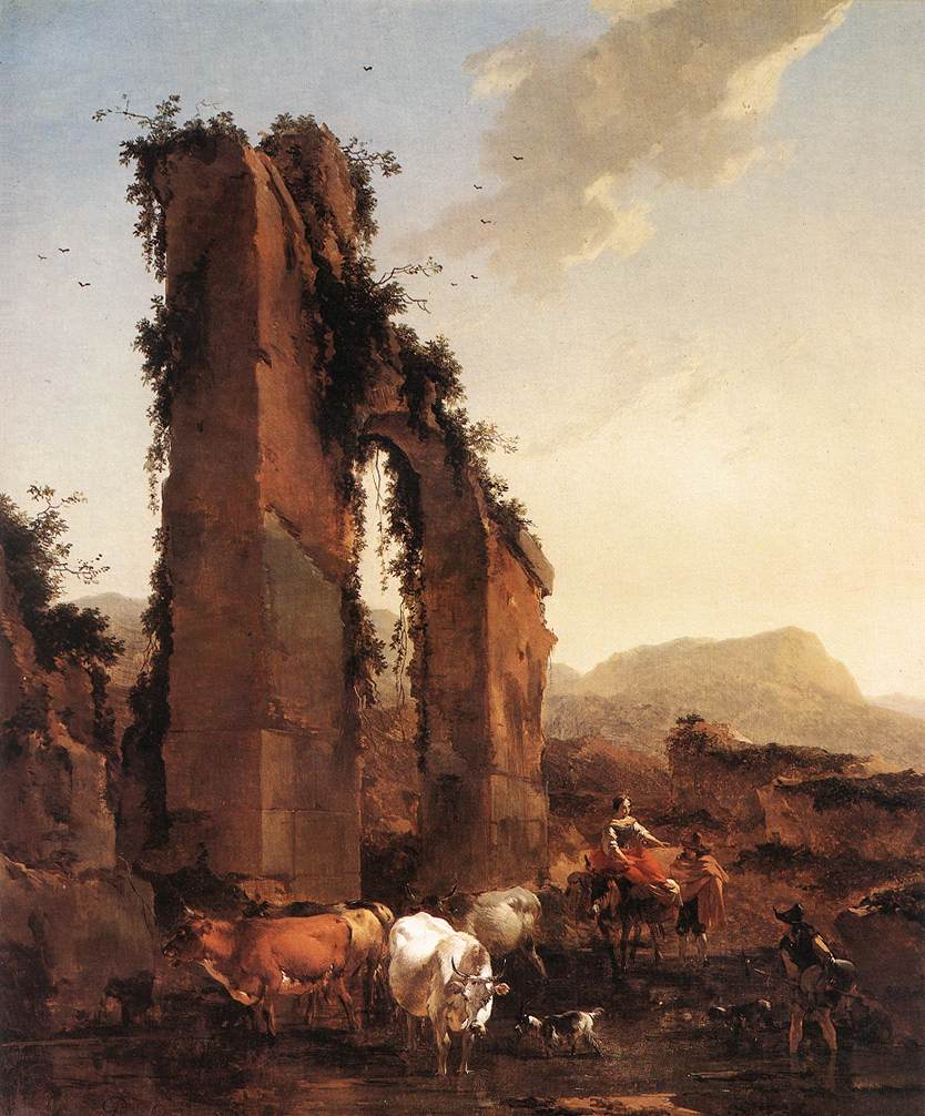 Peasants with Cattle by a Ruined Aqueduct 1658 | Nicolaes Berchem | oil painting