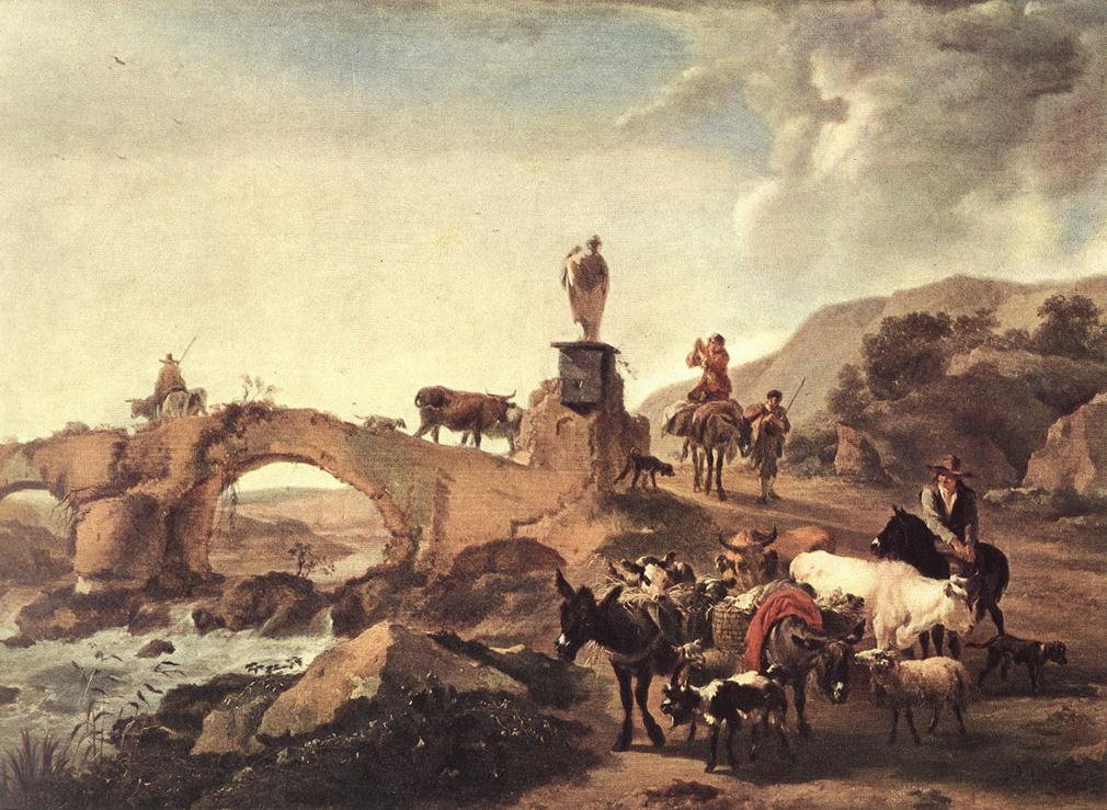 Italian Landscape with Bridge 1656 | Nicolaes Berchem | oil painting