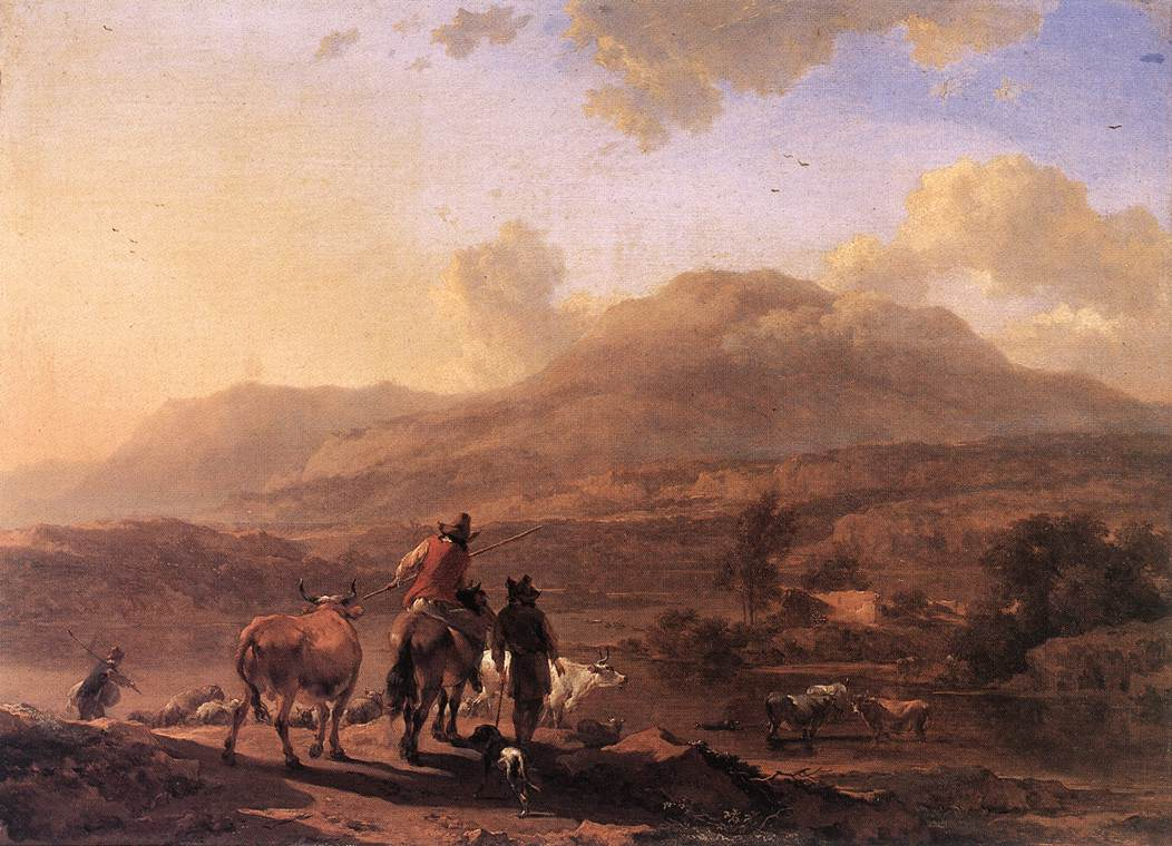 Italian Landscape at Sunset 1670 1672 | Nicolaes Berchem | oil painting