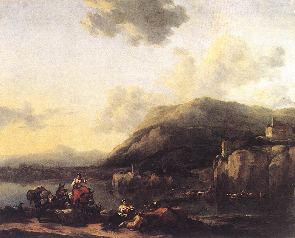 Landscape with Jacob Rachel and Leah 1643 | Nicolaes Berchem | oil painting