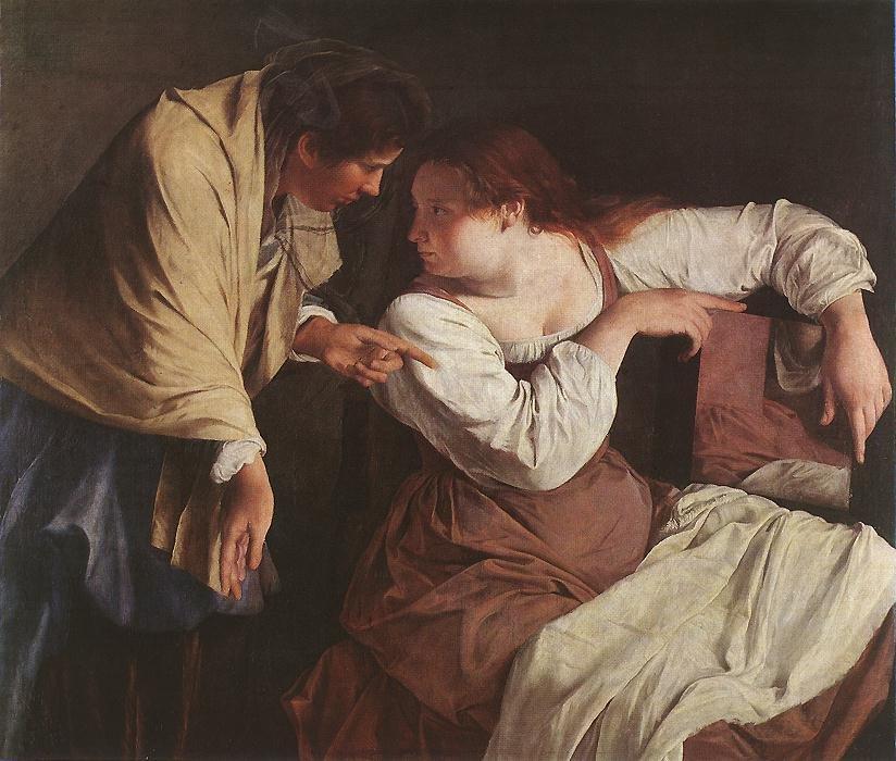Two Women with a Mirror | Orazio Gentleschi | oil painting