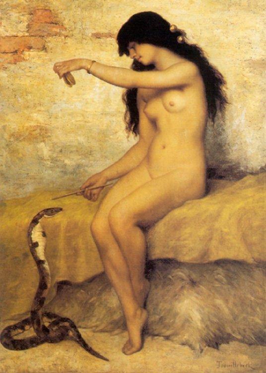 The Nude Snake Charmer | Paul Desire Trouillebert | oil painting
