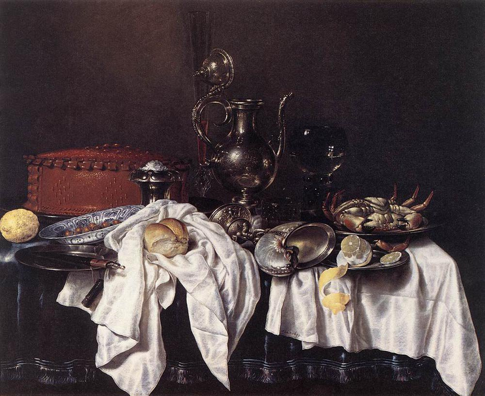 Still Life with Pie Silver Ewer and Crab 1658 | Willem Claesz Heda | oil painting