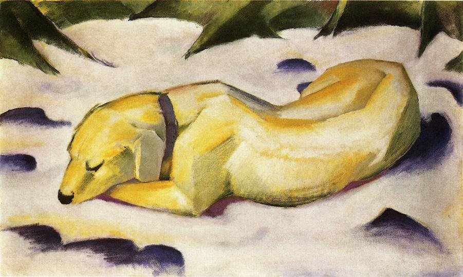 Dog Lying in the Snow 1910 1911 | Franz Marc | oil painting