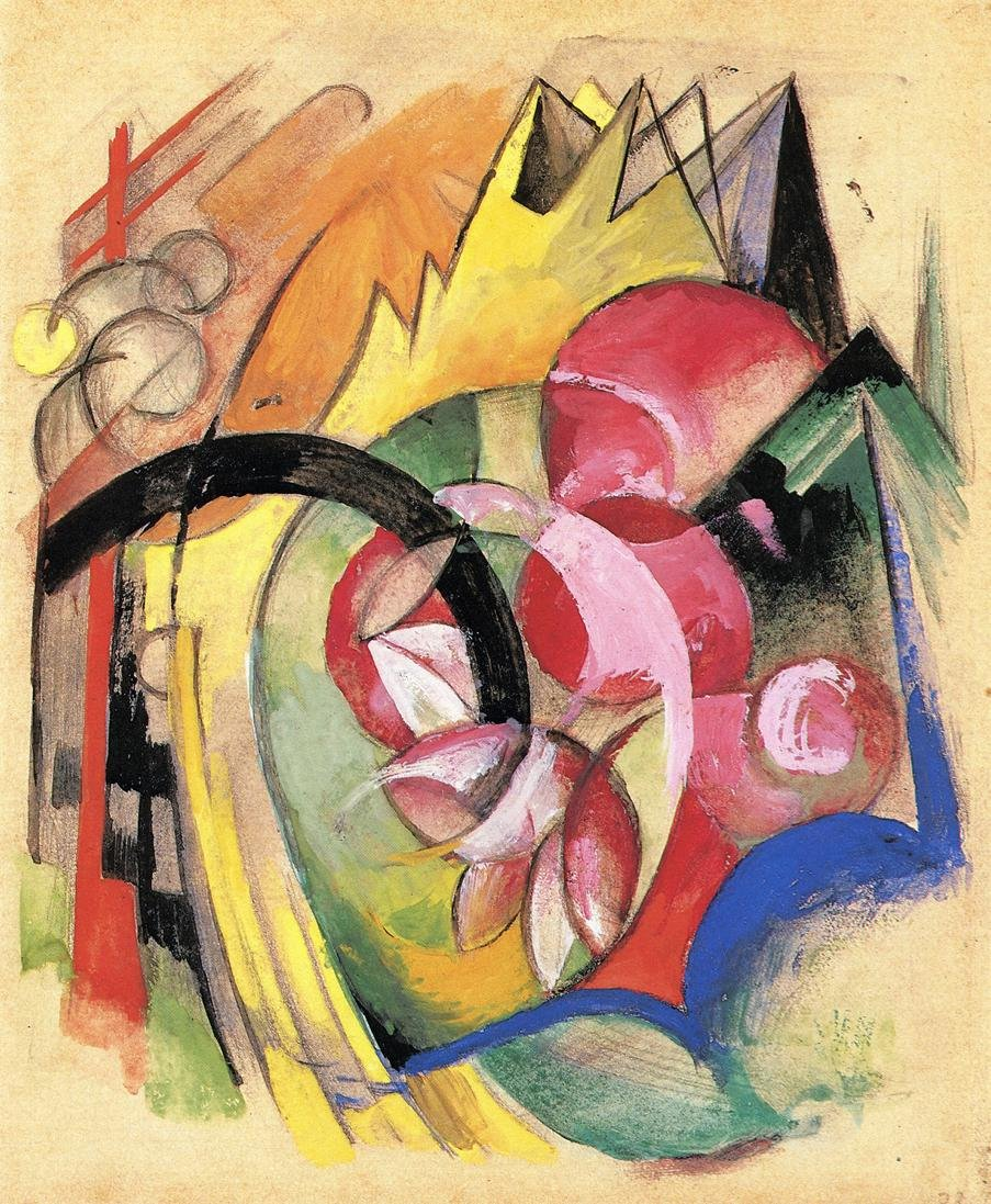 Coloful Flowers aka Abstract Forms 1913 1914 | Franz Marc | oil painting