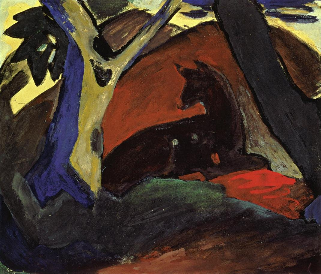 Crouching Deer 1911 | Franz Marc | oil painting