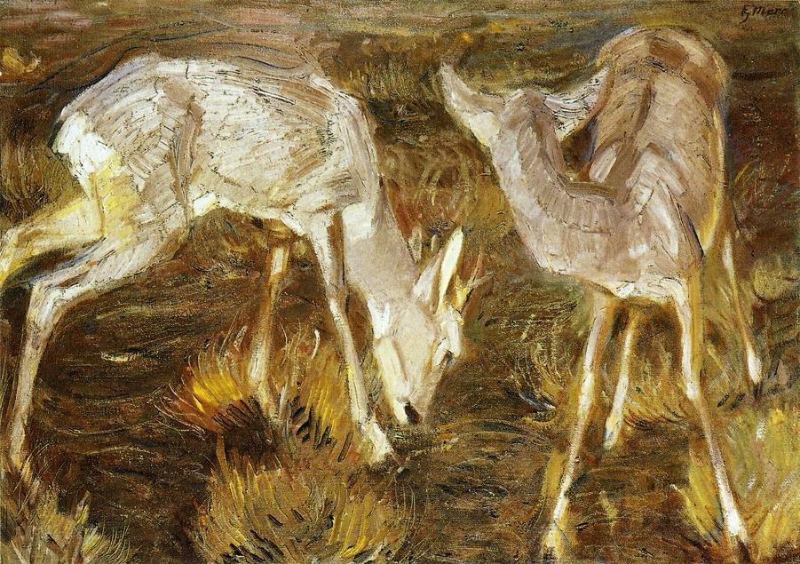 Deer at Dusk 1909   Franz Marc   oil painting