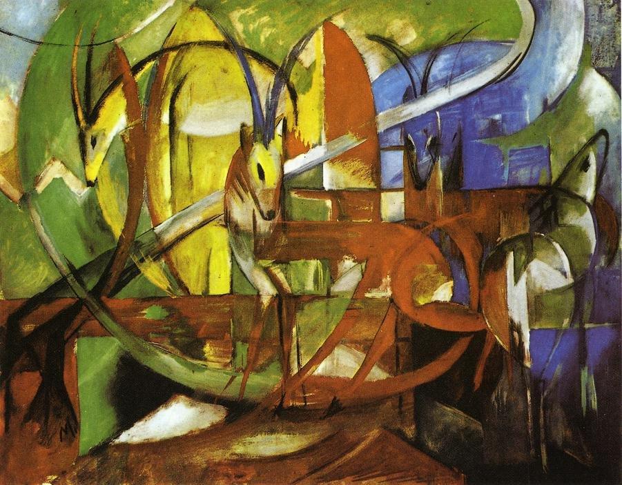Gazelles 1913 | Franz Marc | oil painting