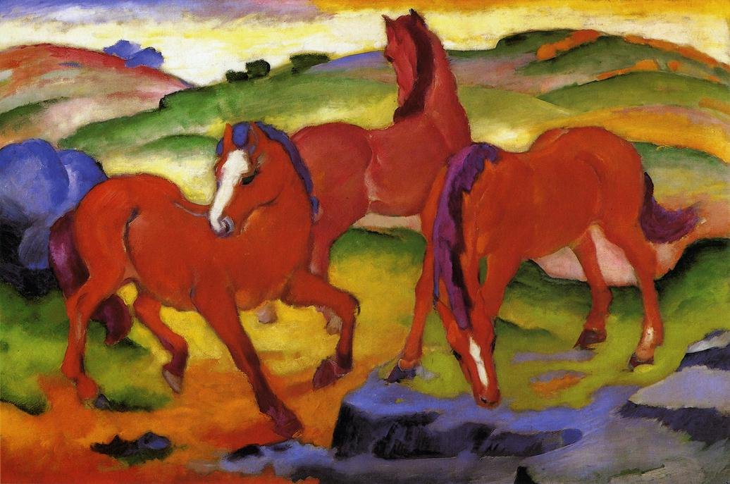 Grazing Horses IV aka The Red Horses 1911 | Franz Marc | oil painting