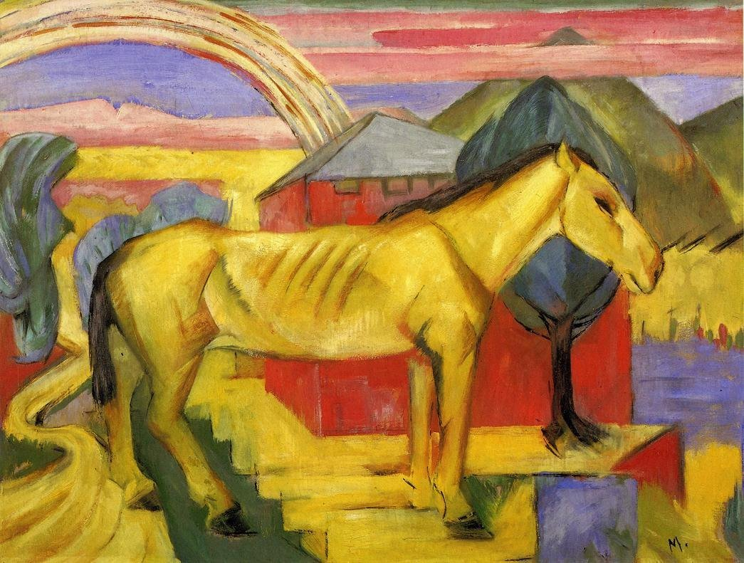 Long Yellow Horse 1913 | Franz Marc | oil painting