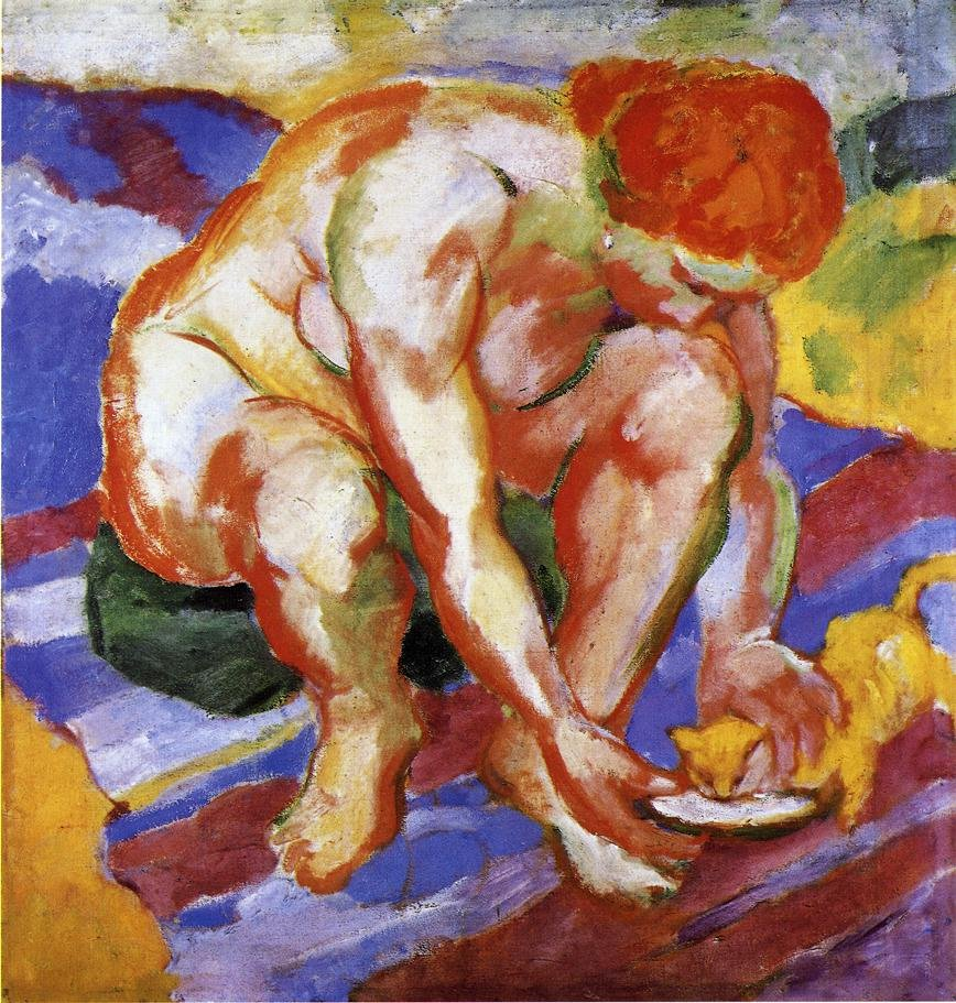 Nude with Cat 1910 | Franz Marc | oil painting