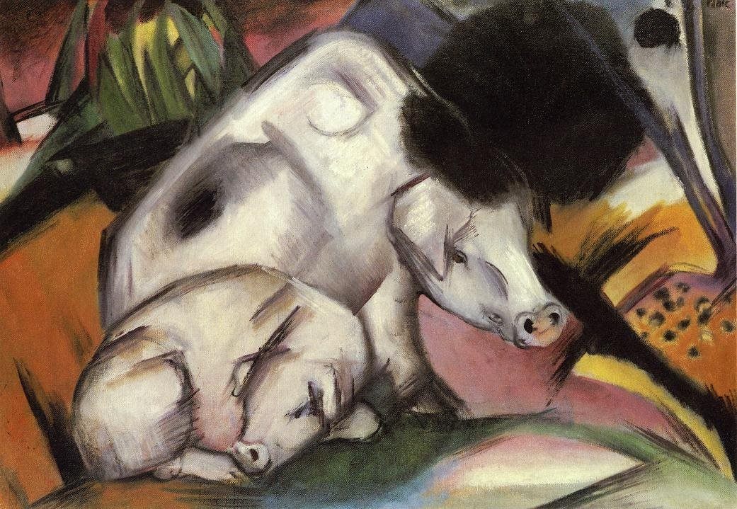 Pigs 1912 | Franz Marc | oil painting