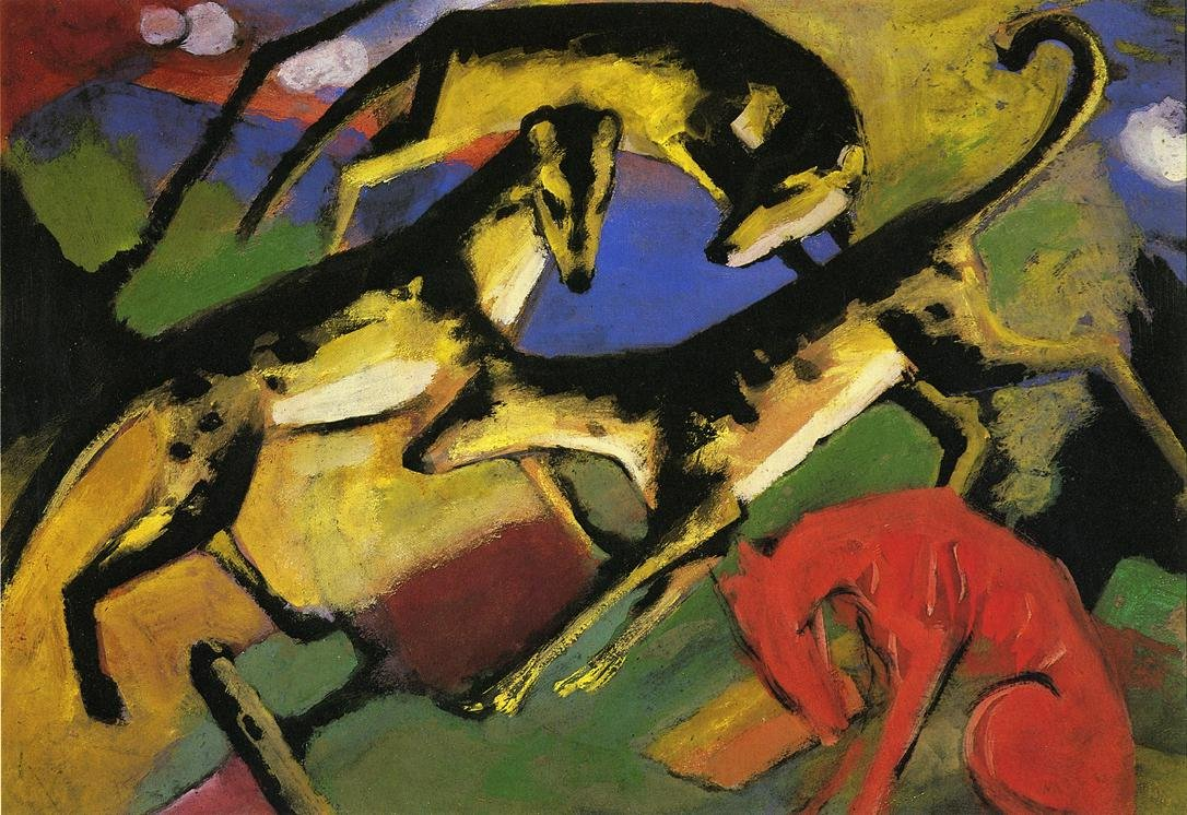 Playing Dogs 1912 | Franz Marc | oil painting