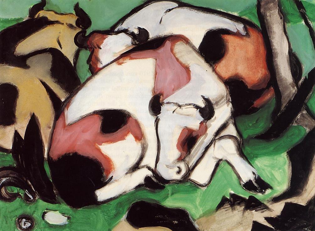 Ruhende Kuhe aka Kauernder Steir 1911 | Franz Marc | oil painting